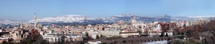 Vista panoràmica de la Ciutat de Valls nevada